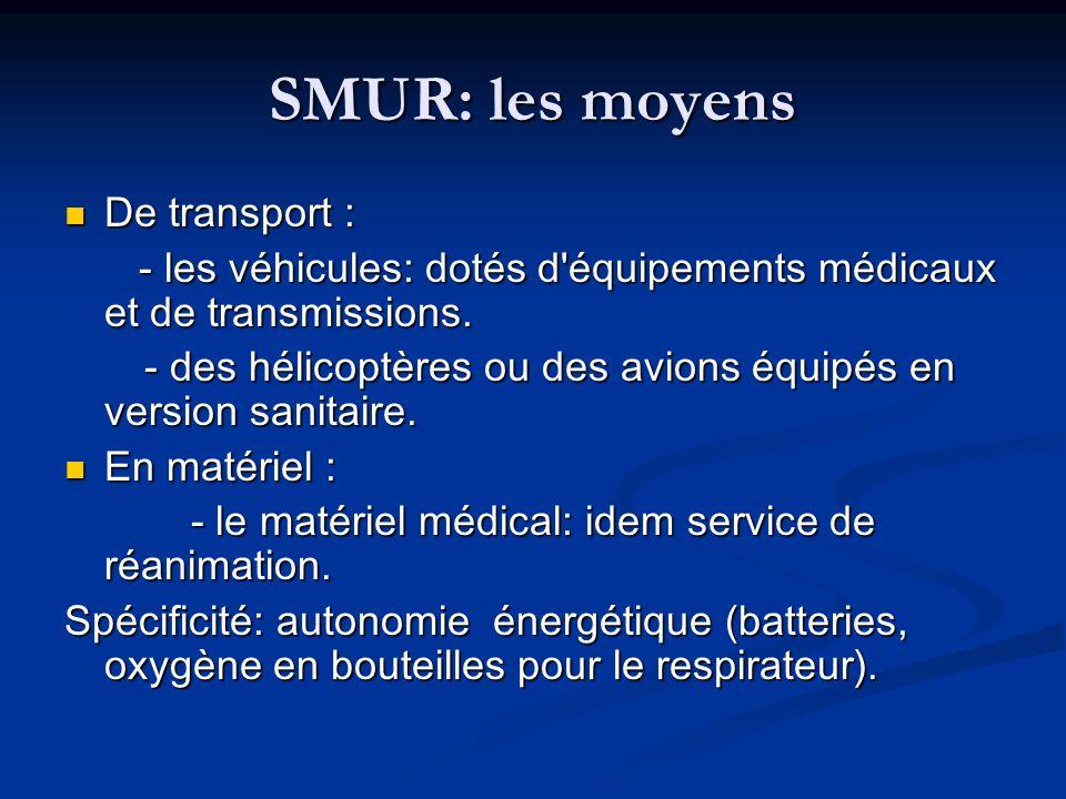 SMUR: les moyens De transport :