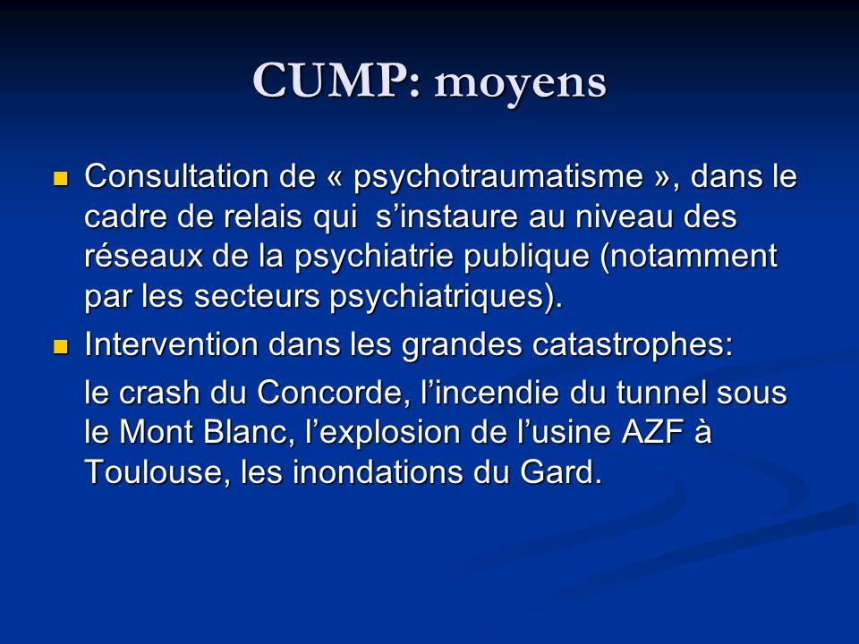 CUMP: moyens