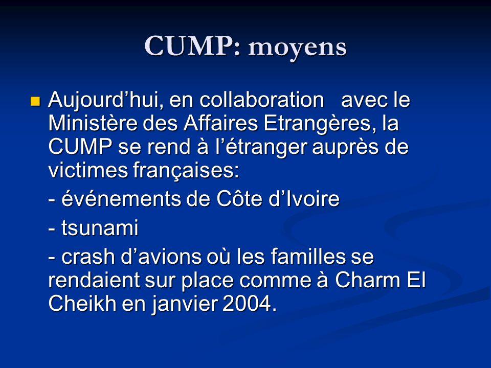 CUMP: moyens Aujourd'hui, en collaboration avec le Ministère des Affaires Etrangères, la CUMP se rend à l'étranger auprès de victimes françaises: