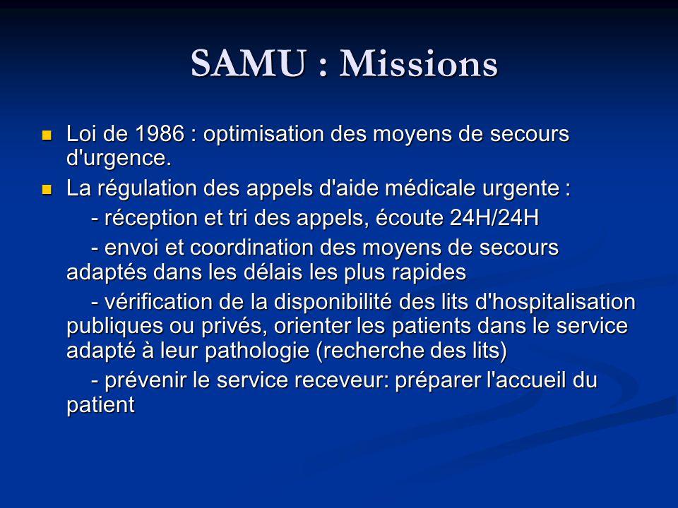 SAMU : Missions Loi de 1986 : optimisation des moyens de secours d urgence. La régulation des appels d aide médicale urgente :