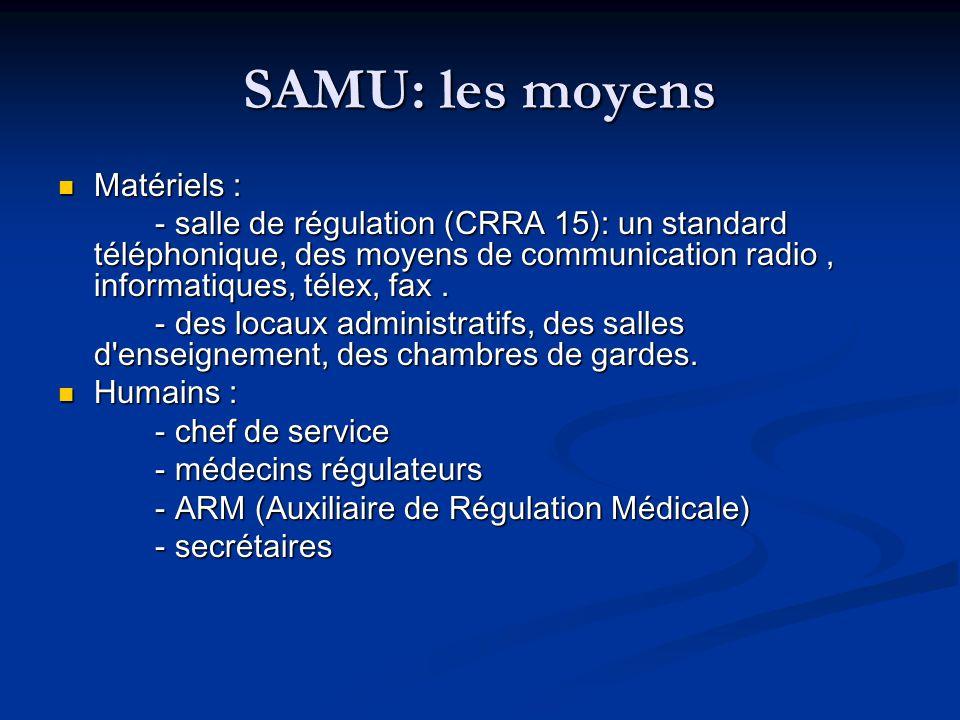 SAMU: les moyens Matériels :