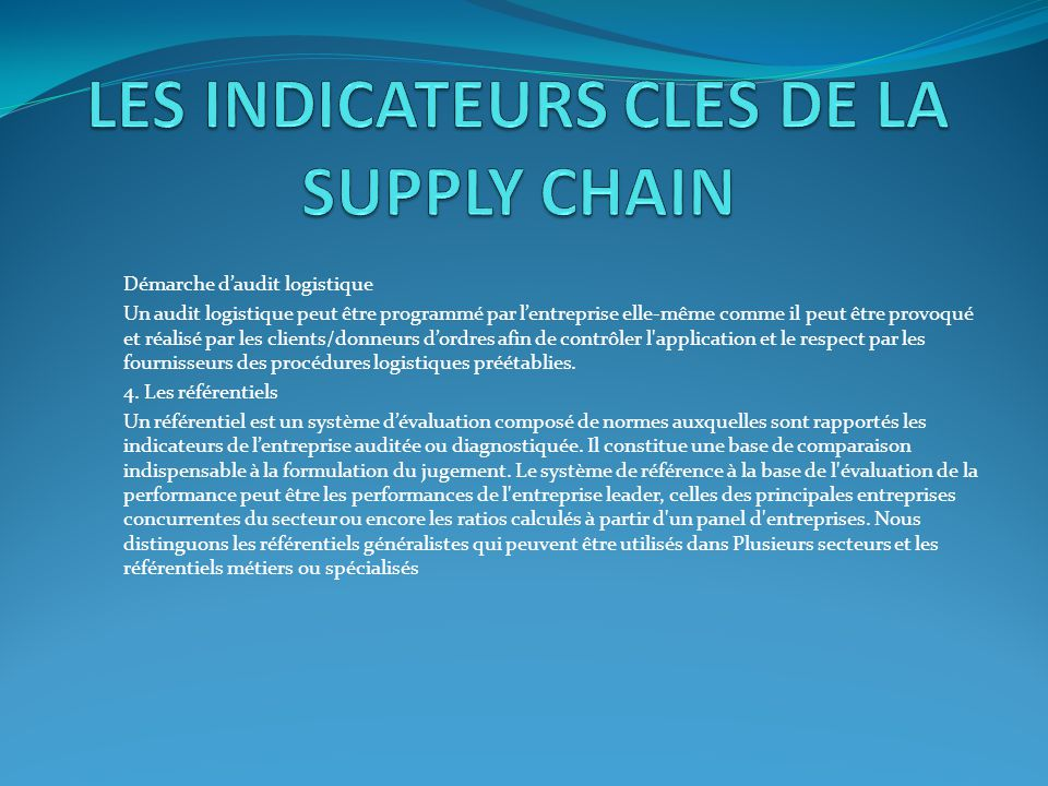 LES INDICATEURS CLES DE LA SUPPLY CHAIN