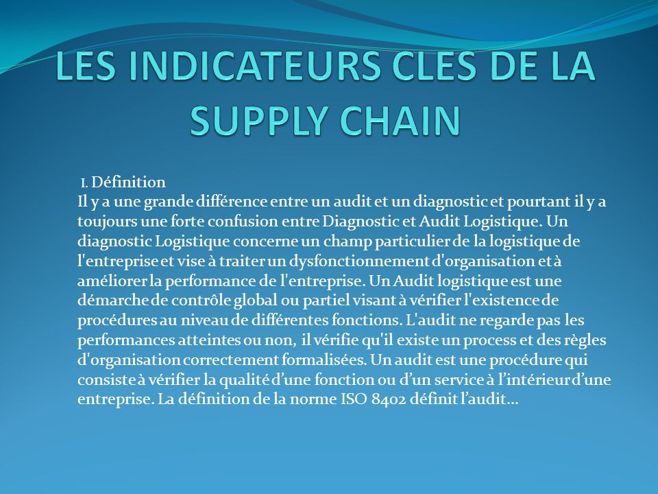 les indicateurs cles de la supply chain ppt t l charger. Black Bedroom Furniture Sets. Home Design Ideas