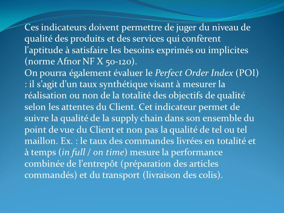 Ces indicateurs doivent permettre de juger du niveau de qualité des produits et des services qui confèrent l aptitude à satisfaire les besoins exprimés ou implicites (norme Afnor NF X 50-120).