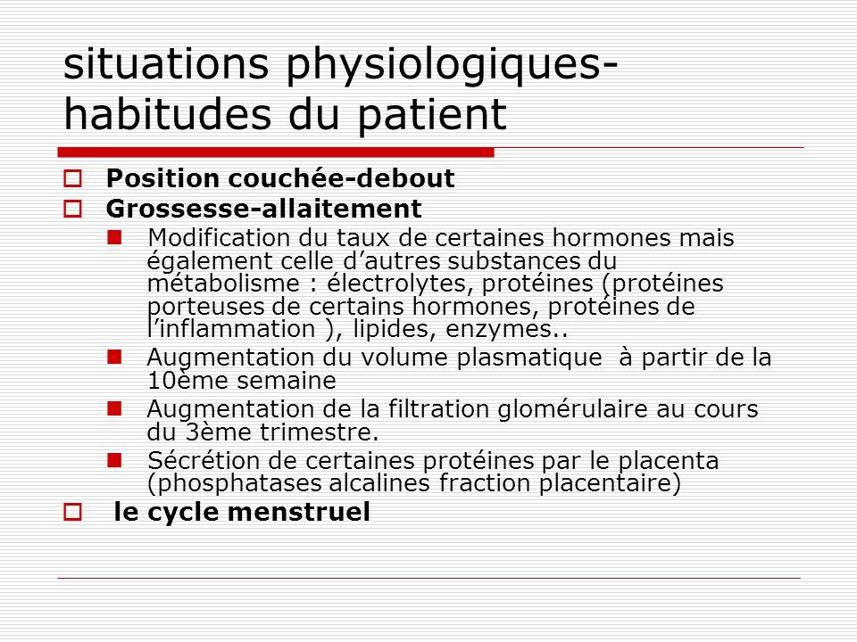 situations physiologiques- habitudes du patient