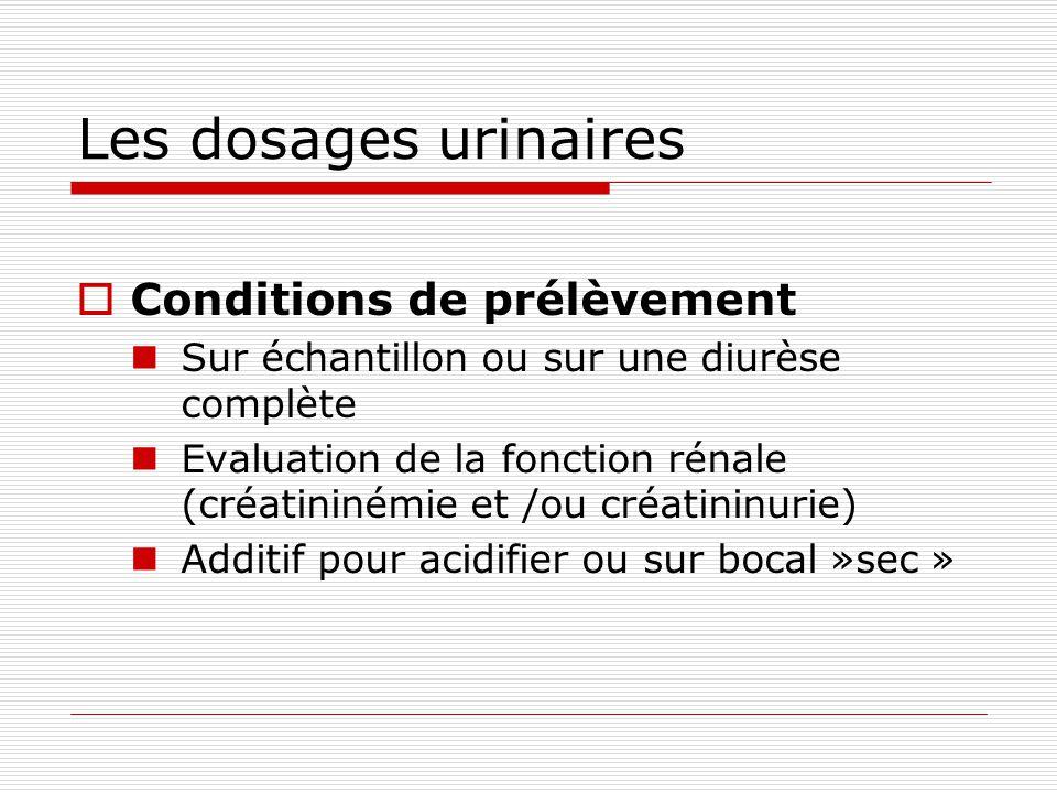 Les dosages urinaires Conditions de prélèvement