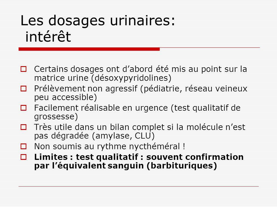 Les dosages urinaires: intérêt