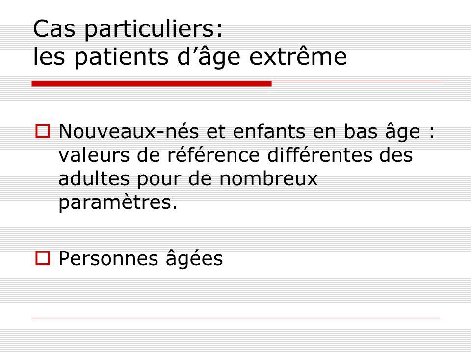Cas particuliers: les patients d'âge extrême