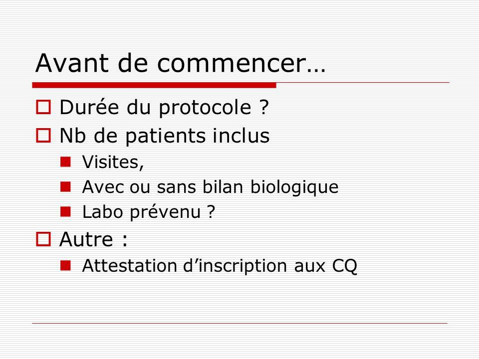 Avant de commencer… Durée du protocole Nb de patients inclus Autre :