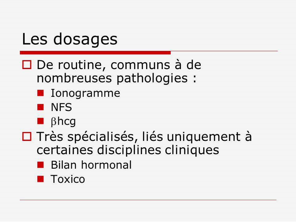 Les dosages De routine, communs à de nombreuses pathologies :