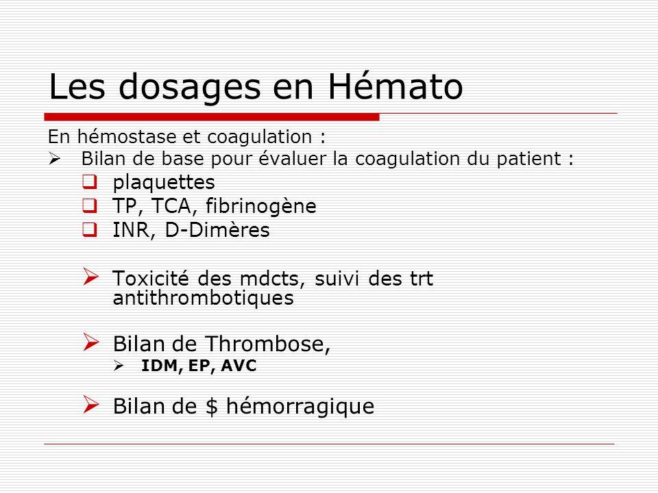Les dosages en Hémato Bilan de Thrombose, Bilan de $ hémorragique