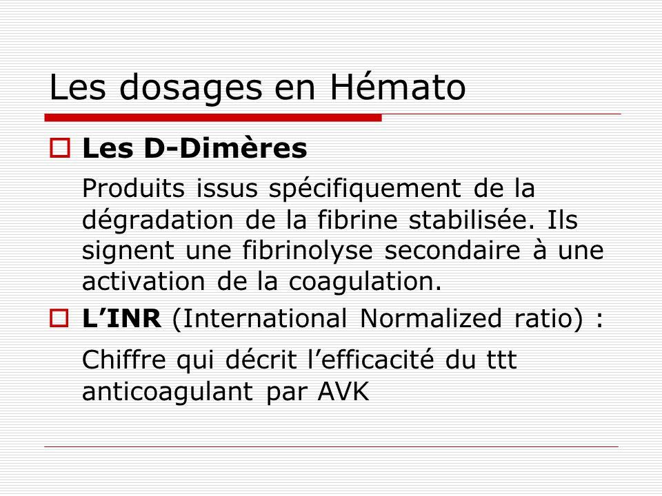 Les dosages en Hémato Les D-Dimères.