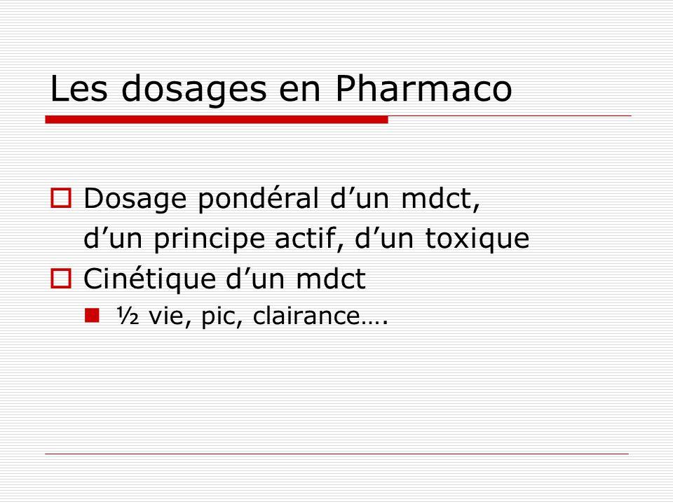 Les dosages en Pharmaco