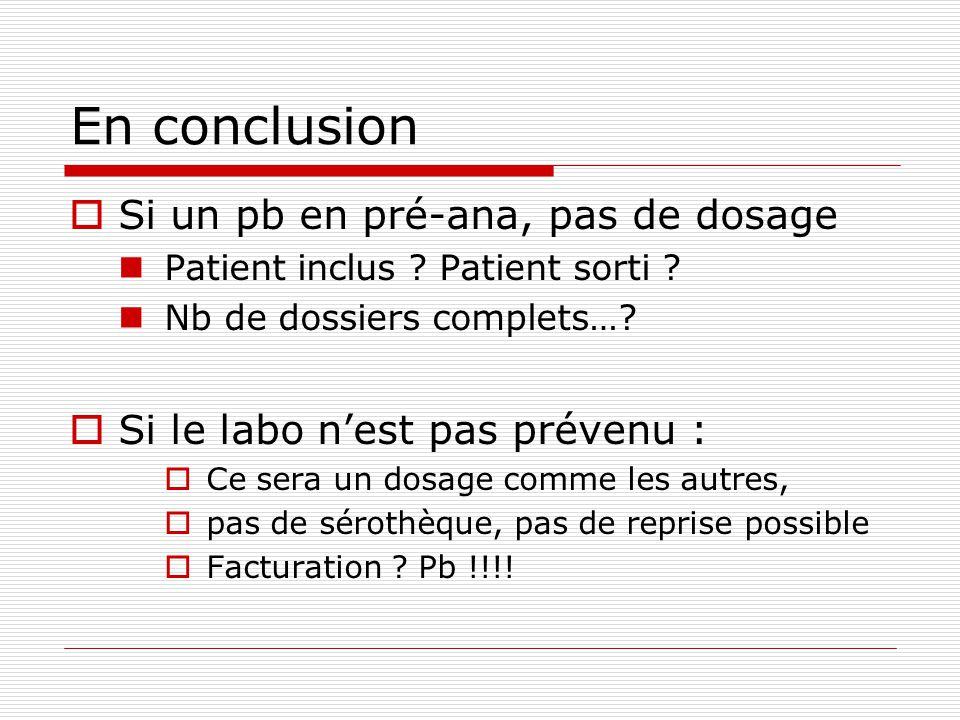 En conclusion Si un pb en pré-ana, pas de dosage