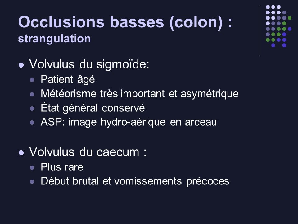 Occlusions basses (colon) : strangulation