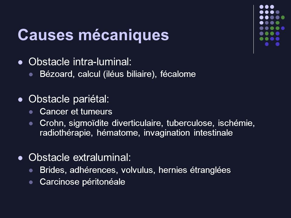 Causes mécaniques Obstacle intra-luminal: Obstacle pariétal: