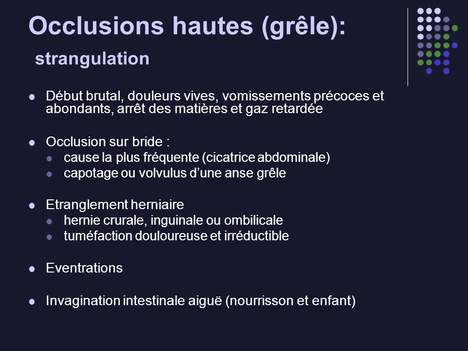 Occlusions hautes (grêle): strangulation