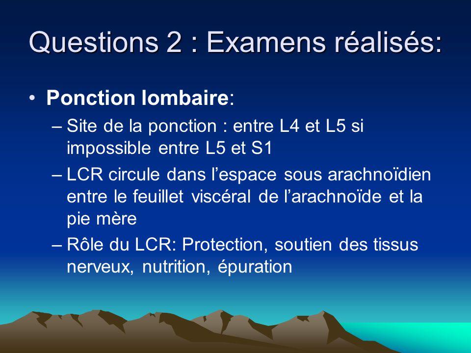 Questions 2 : Examens réalisés: