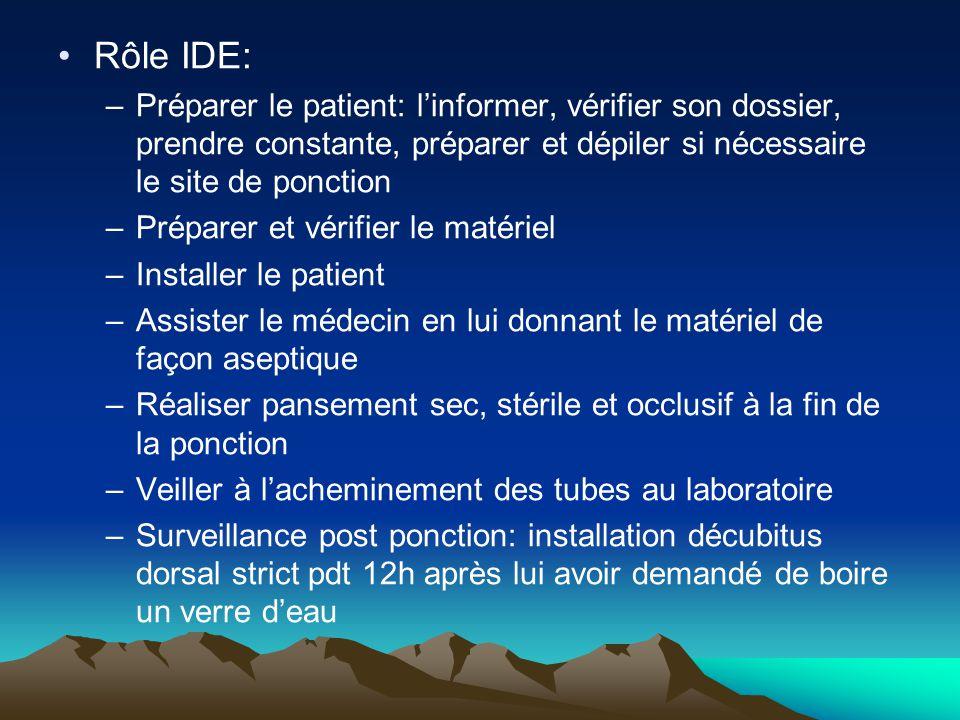 Rôle IDE: Préparer le patient: l'informer, vérifier son dossier, prendre constante, préparer et dépiler si nécessaire le site de ponction.