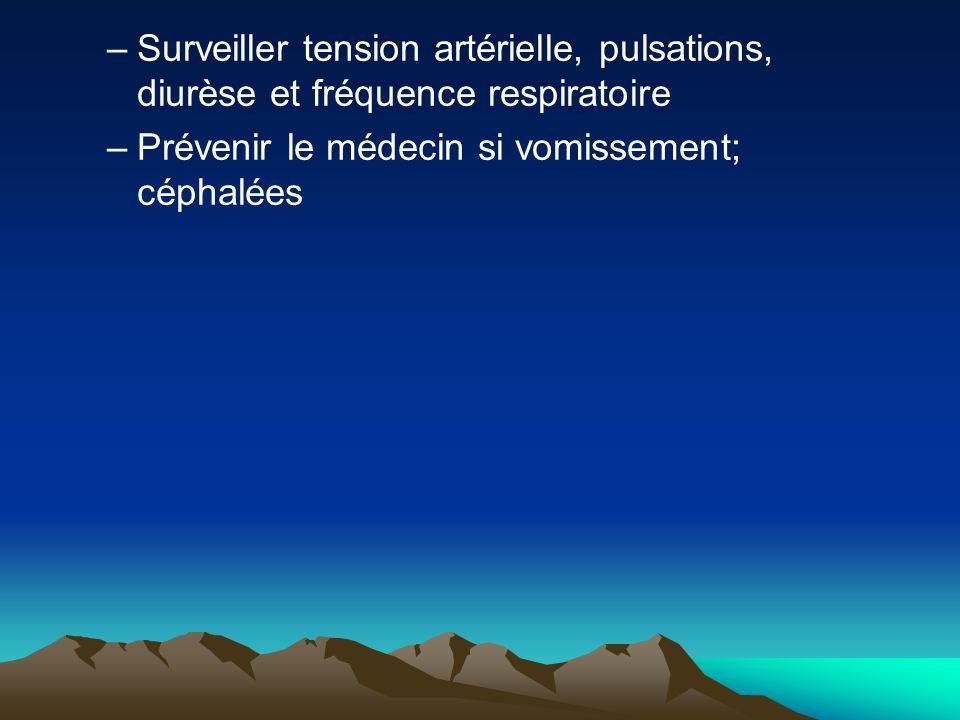 Surveiller tension artérielle, pulsations, diurèse et fréquence respiratoire
