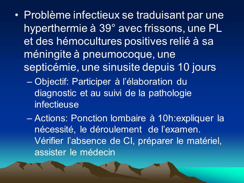 Problème infectieux se traduisant par une hyperthermie à 39° avec frissons, une PL et des hémocultures positives relié à sa méningite à pneumocoque, une septicémie, une sinusite depuis 10 jours