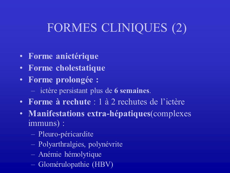 FORMES CLINIQUES (2) Forme anictérique Forme cholestatique