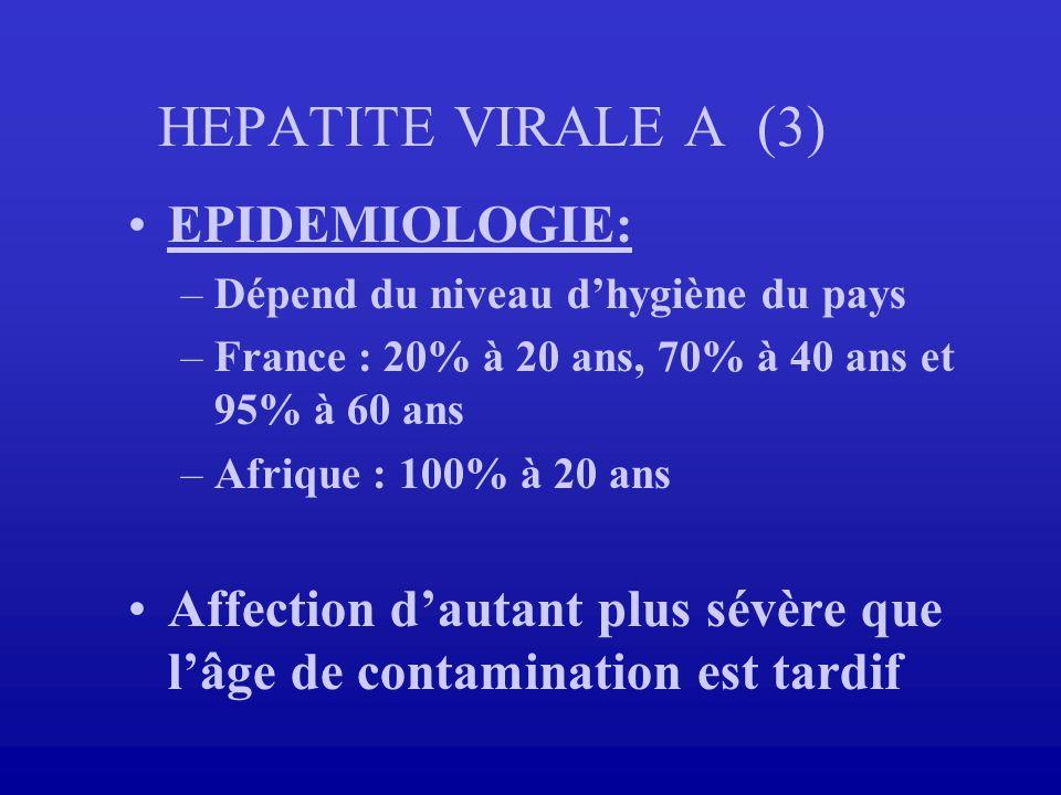 HEPATITE VIRALE A (3) EPIDEMIOLOGIE: