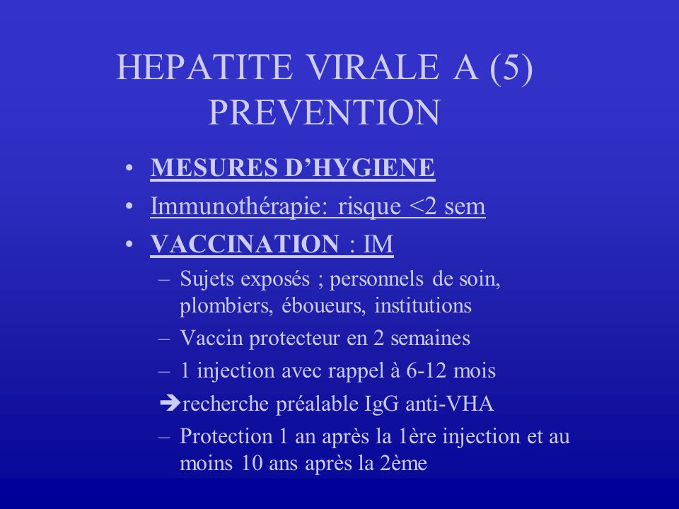 HEPATITE VIRALE A (5) PREVENTION