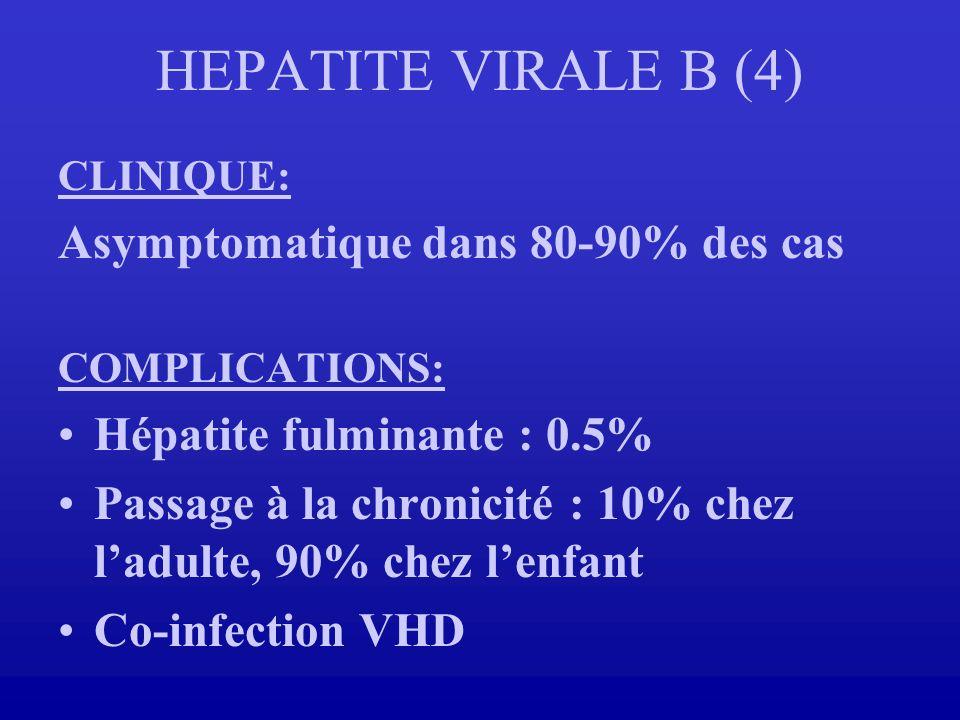 HEPATITE VIRALE B (4) Asymptomatique dans 80-90% des cas