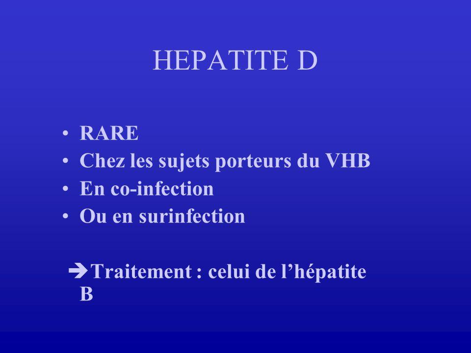 HEPATITE D RARE Chez les sujets porteurs du VHB En co-infection