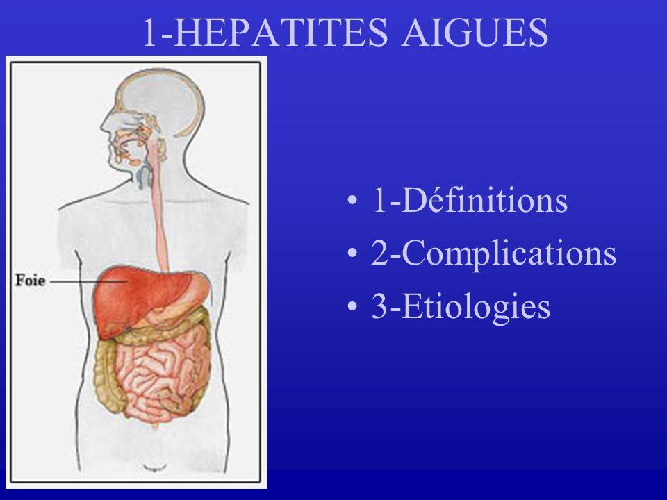 1-HEPATITES AIGUES 1-Définitions 2-Complications 3-Etiologies
