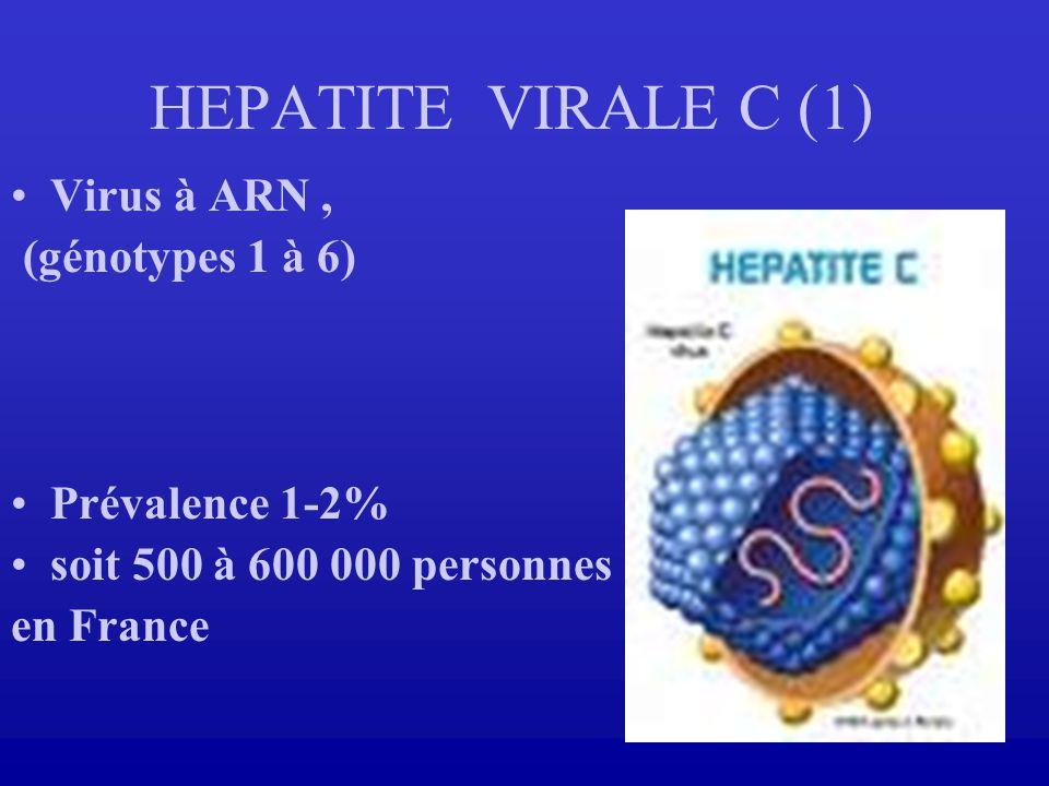 HEPATITE VIRALE C (1) Virus à ARN , (génotypes 1 à 6) Prévalence 1-2%