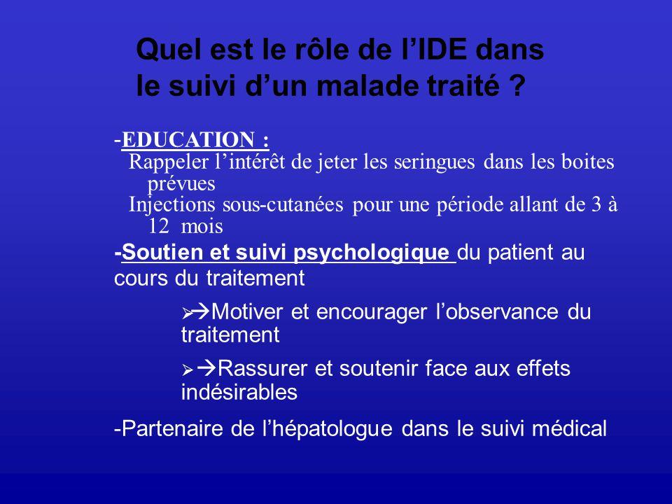 Quel est le rôle de l'IDE dans le suivi d'un malade traité
