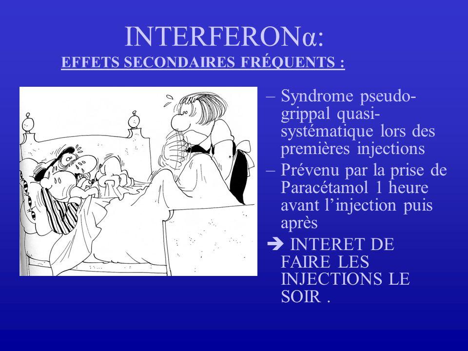 INTERFERONα: EFFETS SECONDAIRES FRÉQUENTS :
