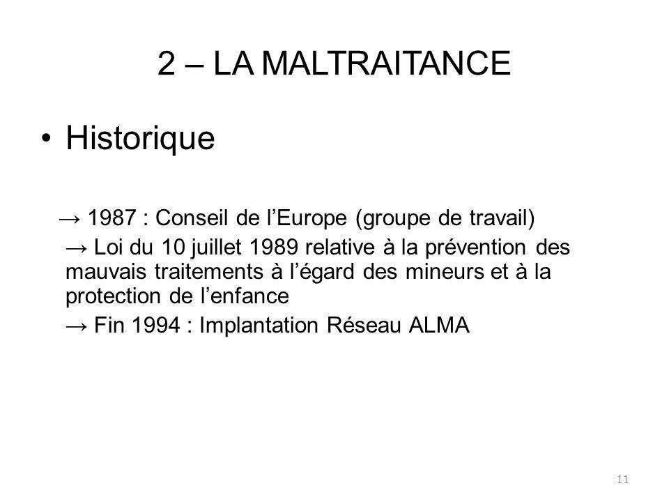 2 – LA MALTRAITANCE Historique
