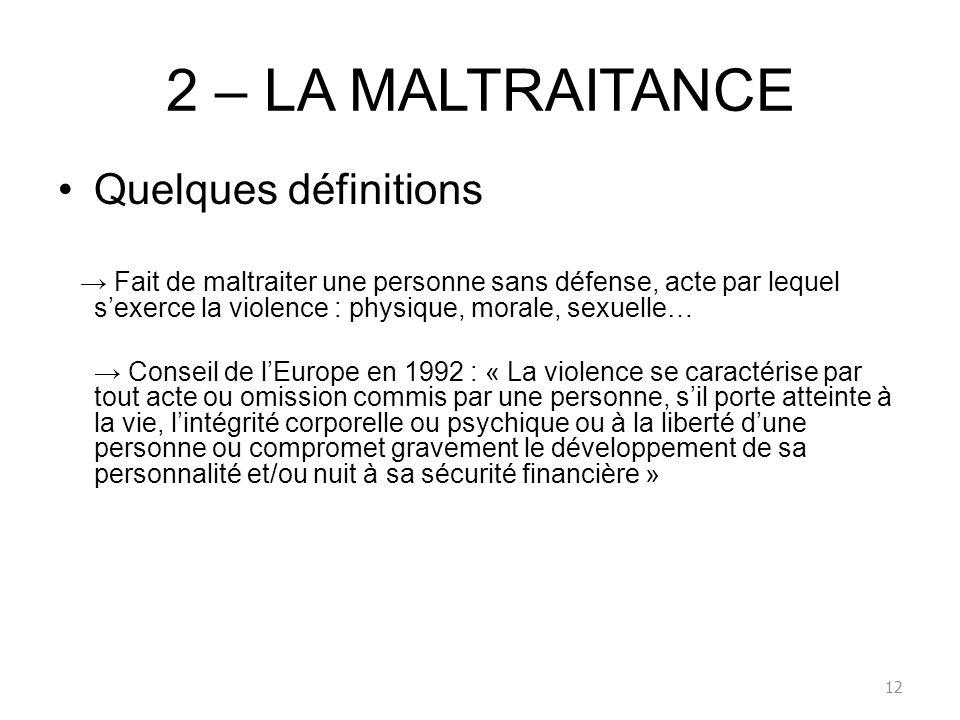 2 – LA MALTRAITANCE Quelques définitions