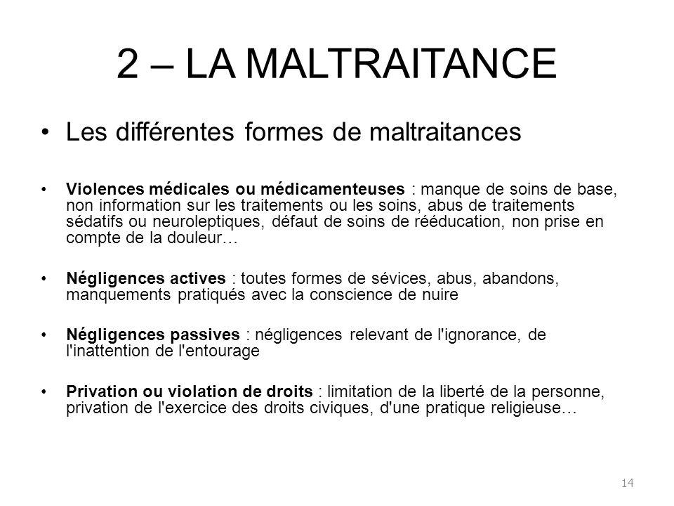 2 – LA MALTRAITANCE Les différentes formes de maltraitances