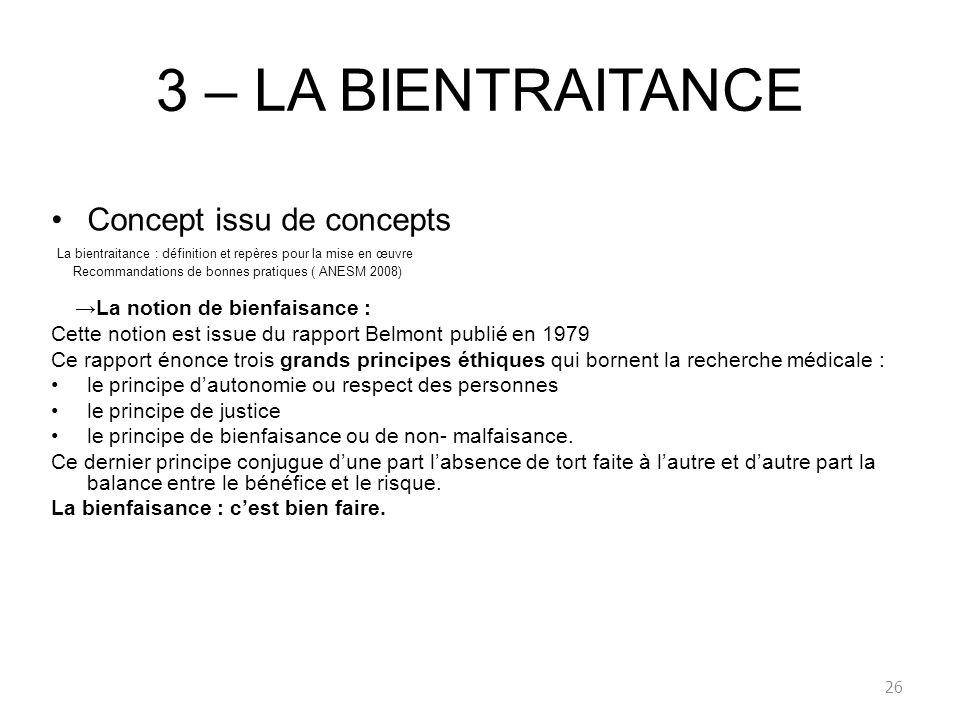 3 – LA BIENTRAITANCE Concept issu de concepts
