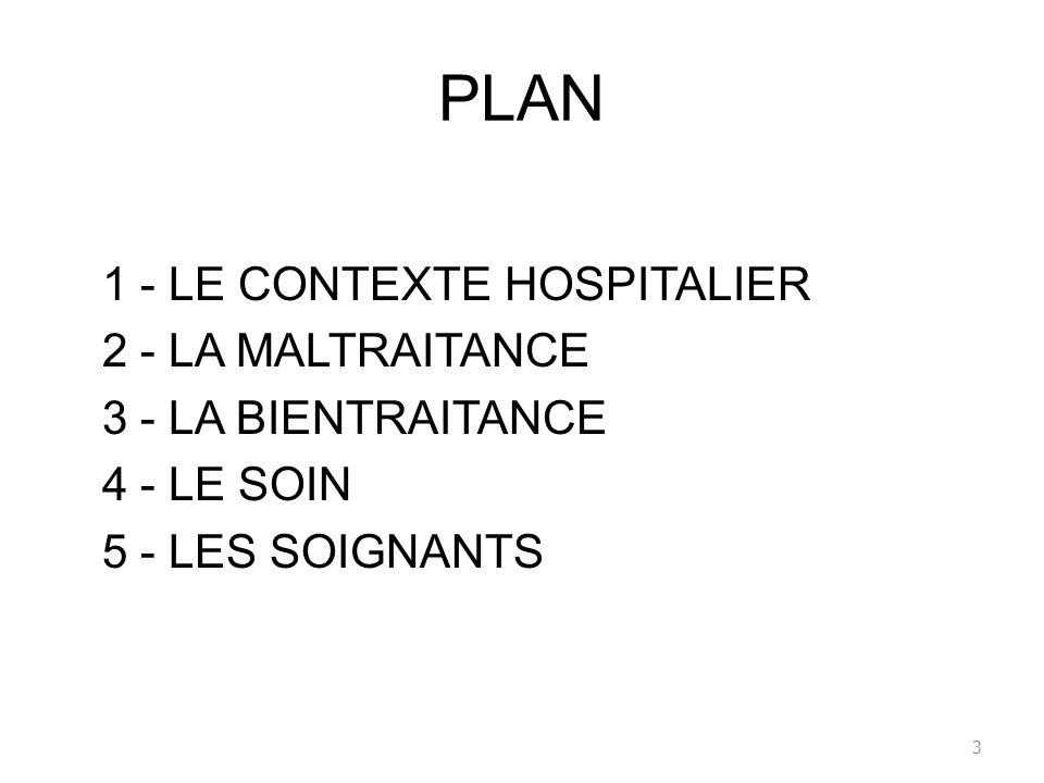 PLAN 1 - LE CONTEXTE HOSPITALIER 2 - LA MALTRAITANCE