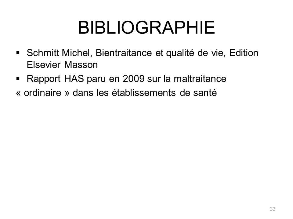BIBLIOGRAPHIE Schmitt Michel, Bientraitance et qualité de vie, Edition Elsevier Masson. Rapport HAS paru en 2009 sur la maltraitance.