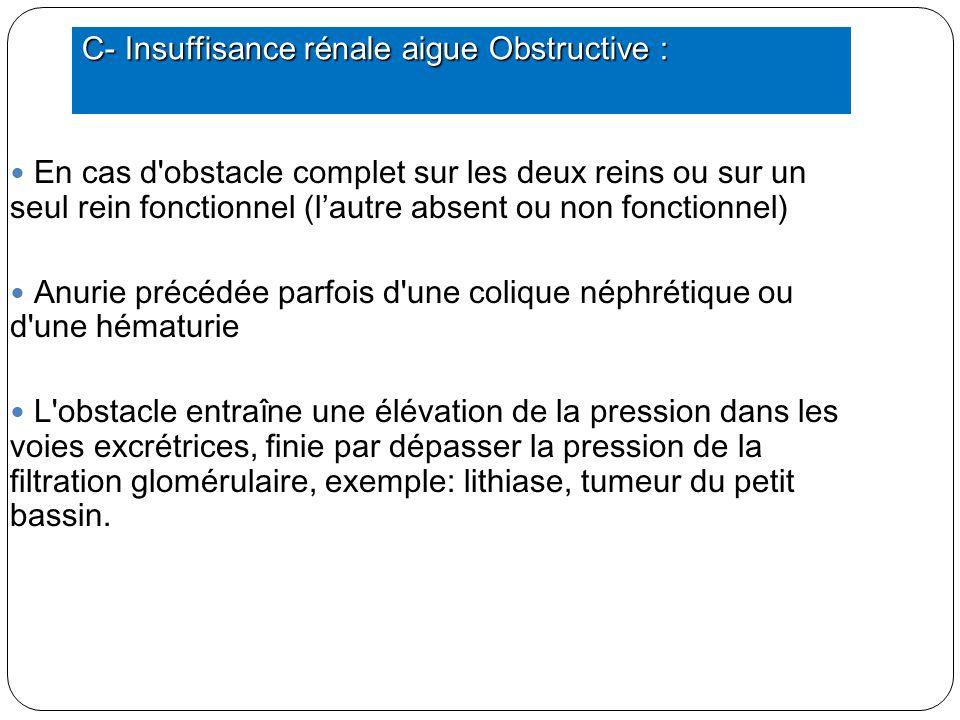 C- Insuffisance rénale aigue Obstructive :