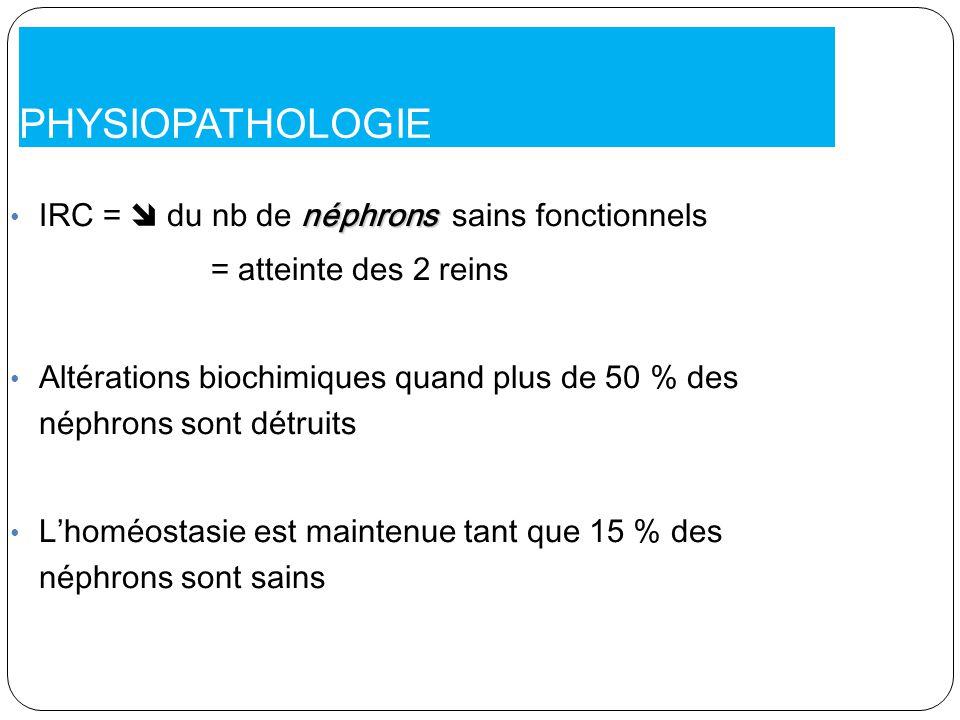 PHYSIOPATHOLOGIE IRC =  du nb de néphrons sains fonctionnels