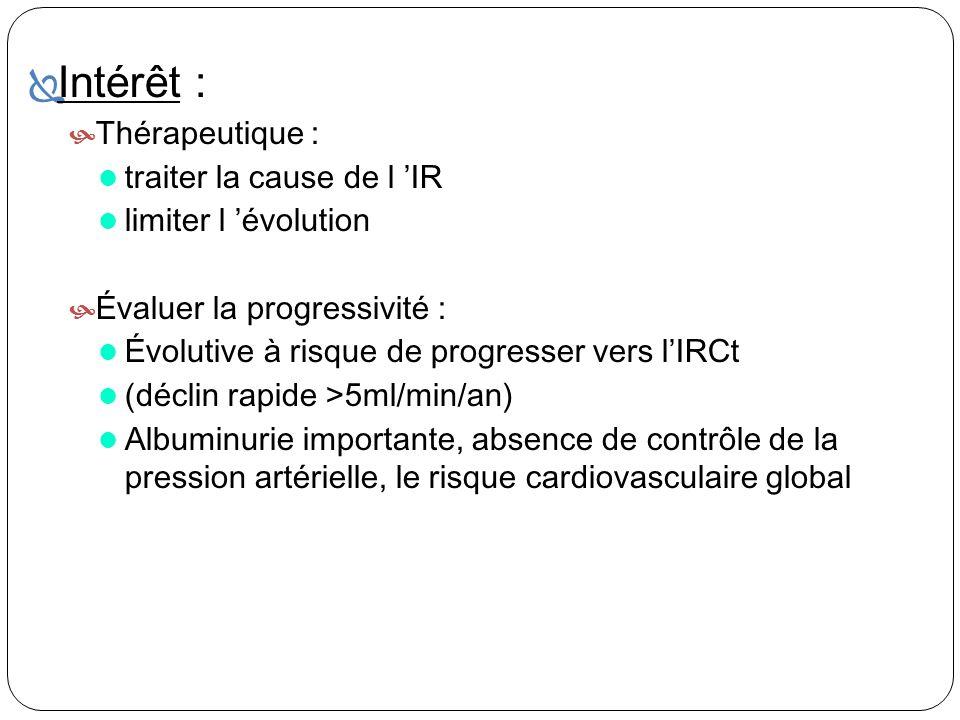 Intérêt : Thérapeutique : traiter la cause de l 'IR
