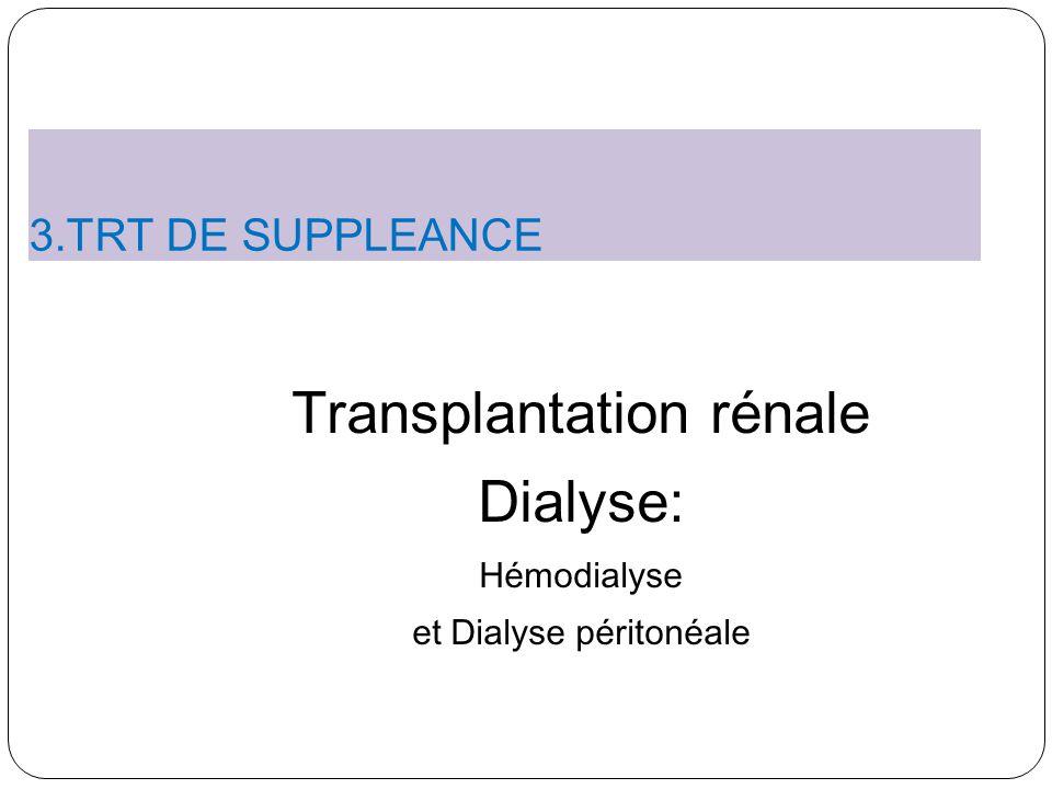 Transplantation rénale Dialyse: