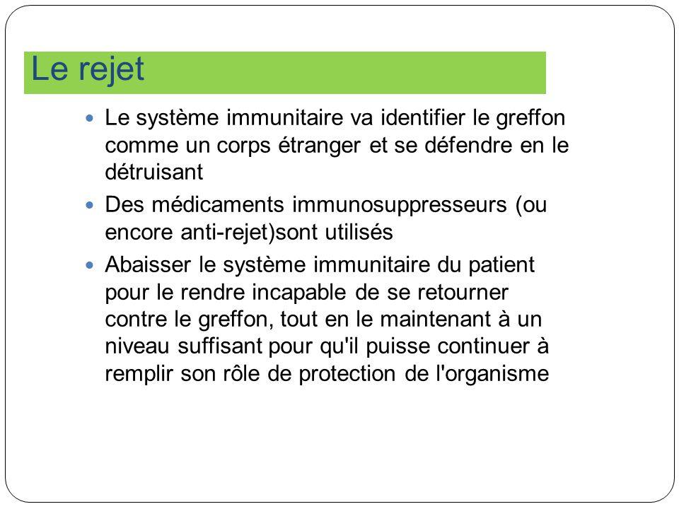 Le rejet Le système immunitaire va identifier le greffon comme un corps étranger et se défendre en le détruisant.