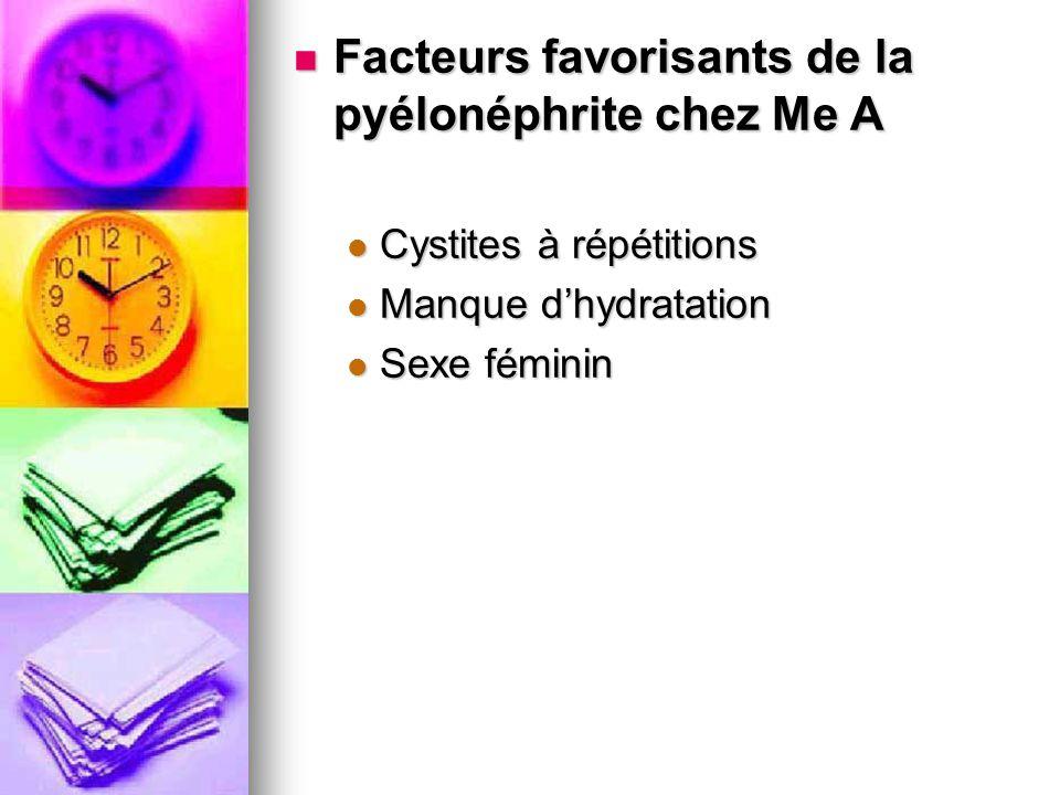 Facteurs favorisants de la pyélonéphrite chez Me A
