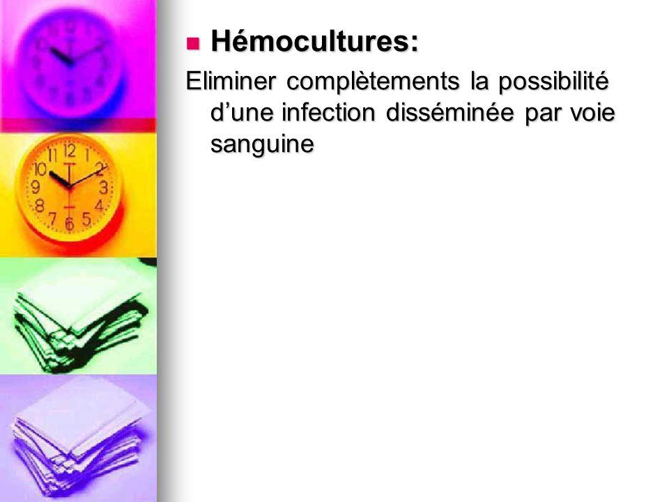 Hémocultures: Eliminer complètements la possibilité d'une infection disséminée par voie sanguine