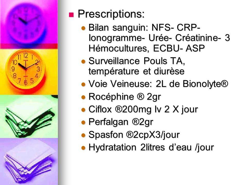 Prescriptions: Bilan sanguin: NFS- CRP- Ionogramme- Urée- Créatinine- 3 Hémocultures, ECBU- ASP. Surveillance Pouls TA, température et diurèse.