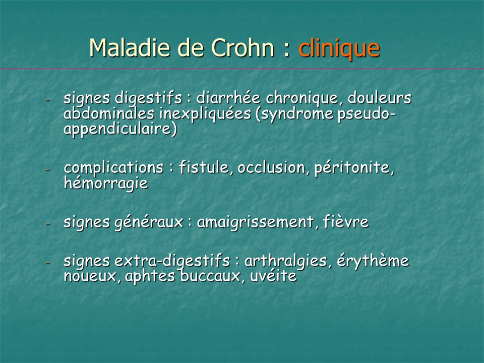 Maladie de Crohn : clinique