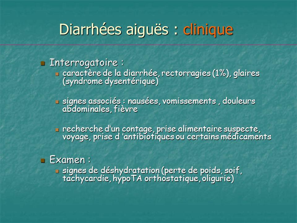 Diarrhées aiguës : clinique